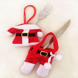 Fashion Year Chirstmas Tableware Holder Knife Fork Cutlery Set Skirt Pants 2020 Christmas Decorations for Home