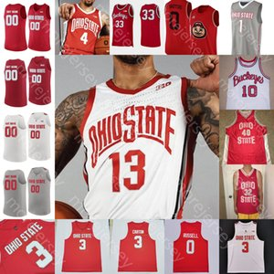 Benutzerdefinierte Ohio State Buckeyes Basketball Jersey NCAA College Brown III ZED Key Seth Towns Washington Jr. Jove Sueining Ahrens Diallo Russell