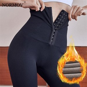 NORMOV Winter Warm Thick High Waist Velvet Push Up Women Leggings Black Compression Stretchy Leggins Q1123