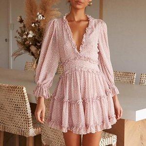 Europäische und amerikanische Mode Kurze Kleid Womens New Rufled V-Ausschnitt Blumenkuchenrock Lantern Sleeve Heißer Verkauf
