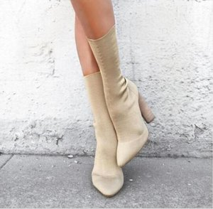 Hot Sale- Sexy Stretch Knit Ankle Boots Kim Kardashian Style Block Heels Short Boots Pointed Toe 11CM High Heels Women Boots