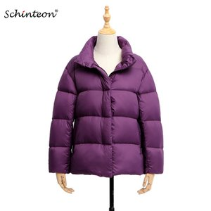2020 Schinteon Light Down Jacket Stand Collar 90% White Duck Down Coat Casual Loose Winter Outwear High Quality 8 Colors