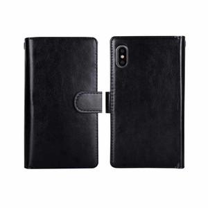 1 billetera de cuero de la PU de lujo 2 en la caja del teléfono X imán extraíble retro cubierta ultra delgada para teléfono XS MAX 7 8 6S 6 PLUS