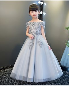 Gray Tulle First Communion Long Ball Gown Toddler Party Princess Wedding Pageant Evening Flower Girl Dress Q1118