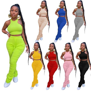 Plus Size 2 Two Piece Set Outfits Stacked Pants Leggings Crop Top Female Ladies Tracksuit Joggers Women Matching Sets