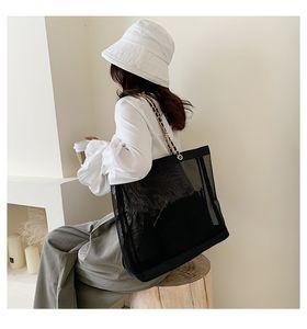 Novo clássico branco imprimir shopping malha malha bolsa com fita clássico praia de viagem saco mulheres saco de lavagem de maquiagem cosmética armazenamento de maquiagem