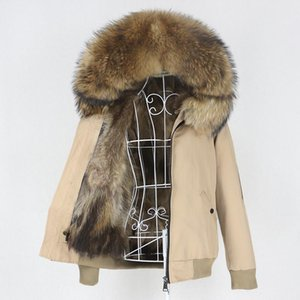 OFTBUY 2020 Waterproof Bomber Parka Real Fur Coat Natural Raccoon Fur Collar Hood Winter Jacket Women Outerwear Removable