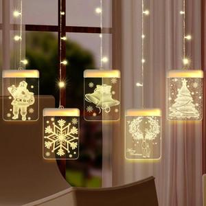 QIFU Elk Snowman Christmas Curtain Light Christmas Decor For Home 2020 Navidad Noel Cristmas Ornaments Xmas Gifts Happy New Year J1209