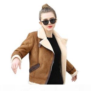Brown Shearling Sheepskin Coats Women Autumn Winter Womens CoffeeLambs Wool Short Biker Faux Leather Suede Jackets JS3010