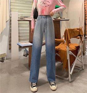 2021 Novo Gradiente Lavado Blue Blue Jeans Retro Moda Qualidade Jeans Mulher Alta Cintura Harajuku Calças Retas Pernas