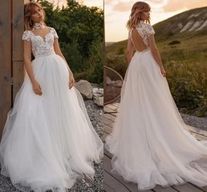 Sexy Illusion High Neck Wedding Dresses 2021 Bohemian Rustic Country A Line Bridal Gowns Short Sleeves Lace Backless Robes De Mariée AL7764
