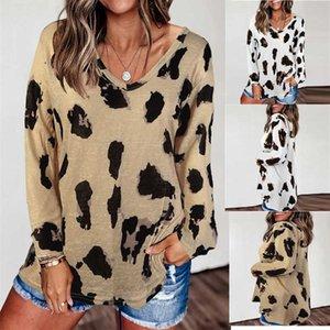 Women Long Sleeve T Shirts Fashion Printed V-Neck Shirts 20SF Ladies Casual Sweatshirts High Quality Streetwear Clothing