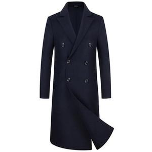 Casaco duplo masculino, casaco de pano masculino casaco de pano masculino Over-the-knee equipe ABB Windbreaker Jacket