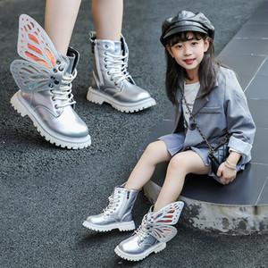 2019 New Winter Child Shoes PU Leather Waterproof Wing Martin Boots Kids Snow Boots Brand Girls Boys High Boots Fashion Sneakers Z1127