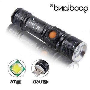 Goodland USB recargable LED luz de antorcha Lanterna T6 Alta potencia batería linterna linterna táctica para bicicletas