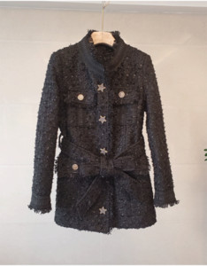 1202 2021 Spring High Quality Free Shipping Crew Neck Long Sleeve Coat Tweed Black Fashion Womens Clothes SH