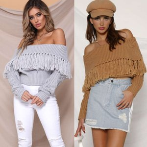 2020 New One Line Tassel Off Shoulder Sexy Sweater For Women In Autumn And Winter Of Cardigans Woman Free Shipping
