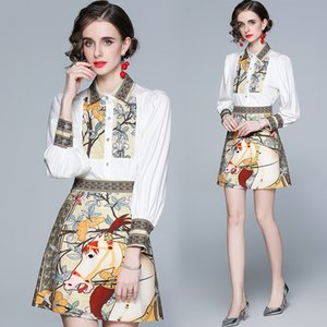 High-end Womens Set Shirt+skirt Long Sleeve Printed Two Piece Set Spring Summer Blouse Skirt Fashion Elegant Lady Suits