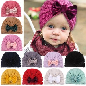 Ins Baby Girls Wool Caps Kids Knitting Crochet Hat Infant Toddler Boutique Indian Turban Spring Autumn 12 colors