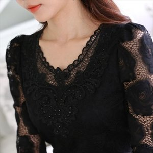 6XL Hollow Out Lace Blouse Elegant Shirt Ladies Tops Crochet Long Sleeve Embroidery Patchwork Women Blouses Tops White DF2753