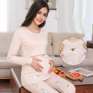 Winter Maternity Wear Warm Confinement Clothing Pregnant Women Thermal Underwear Set Postpartum Nursing Pajamas