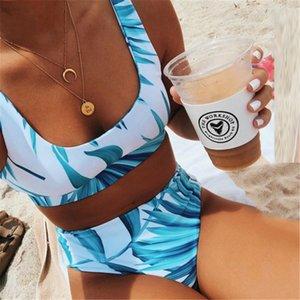 Sexy Scoop Neck White Tropical Palm Leaf High Waist Bikini 2020 Lady Swimwear Women Sport Swimsuit Female Swim Bathing Suit Y1120