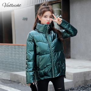 Vielleicht 2020 Autumn Women's Winter Coats Fashion Silver Stand Collar Parkas Winter Jacket Women Pockets Padded Cotton Coat A1112
