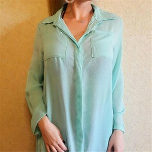 2020 NEW Women Solid Long Sleeve Bikini Cover Up Swimwear Bathing Summer Beach Loose Shirt Dress