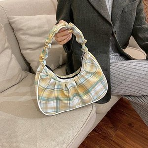 Contrast Plaid Damen Achselaufentasche Falten Umhängetasche Designer Handtaschen Nylon Tote Weibliche Mode Kupplung Geldbörse Unterarmbeutel