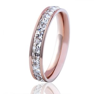 High Quality Love Rings For Women Jewelry Super Flash Ring Girl Small Square Little Finger Ring Crystal Titanium Steel Jewelry