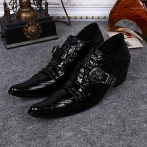men's business dress shoes Genuine Leather Pointy toe men leather shoes Men's Flats Wedding Free Shipping 39-461
