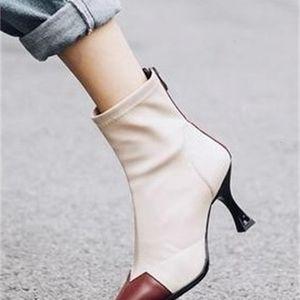 Новое прибытие Горячей Продажа Супер Супер Мода Наплыв Пользовательского хлопок Martin Knight Женского Строчок носков шпильки Ботильоны EU32-43