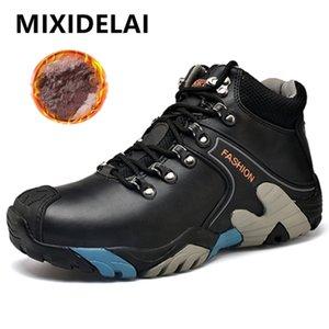 Mixidelai Boyutu 38-46 Moda Su Geçirmez Kar Lace Up Erkekler Ayak Bileği Çizmeler Sıcak Kış Ayakkabı Erkek 201204
