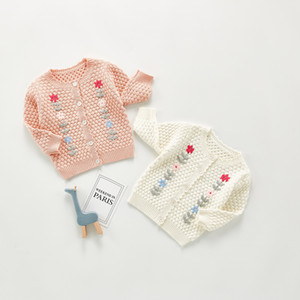 아기 아이들 꽃 수 놓은 스웨터 카디건 어린이 단일 가슴 스웨터 신생아 면화 뜨개질 카디건 Outwear A5388