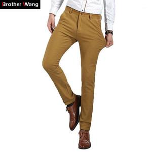 Brother Wang Marca 2019 Nuevos Hombres Elásticos Slim Pantalones Casual Pantalones De Negocios Fashion Flacny Color Sólido Pantalones Masculinos M5011