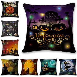 Halloween LED Light Pillowcase 45*45cm Digital Printed LED Luminous Pillow Covers Home Hotel Sofa Throw Pillow Case BWA1830
