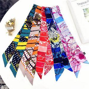 2021 Design di moda donna di fascia alta Legato Sacchetto di Sciarpa Sciarpa Signore Piccolo Bow Brow Brow Bedscarf Sciarpe di seta involucro