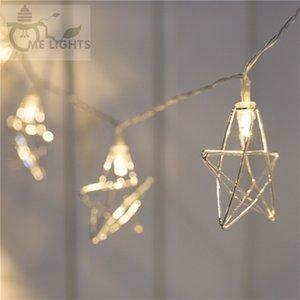 Novidade Led Fairy Lights 20 Metal Star String Light Bateria Alimentado Natal Feriado Feriado Garland Light for Party Wedding Decoration 201128