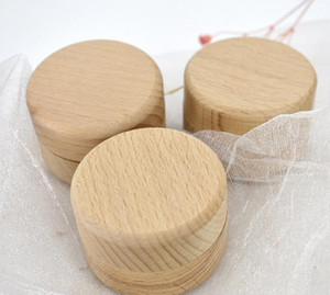 DHL 50pcs Small Round Wooden Storage Box Ring Box Vintage decorative Natural Craft Jewelry Case Wedding Accessories