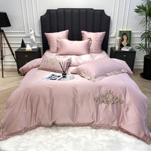 New 1400TC Egyptian Cotton Bedding Sets Embroidery K Duvet Cover Flat Sheets Linen Pillowcase 4 7pcs