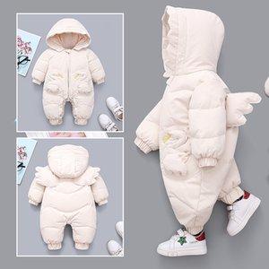 OLEKID 2020 Winter Baby Girls Romper Hooded Angel Wings Newborn Snowsuit Plus Velvet Warm Toddler Girls Jumpsuit Infant Overalls Z1116