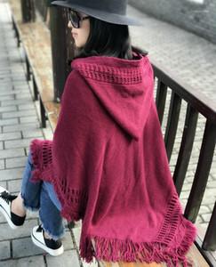 Bohemian Moda Hollow Tassel Knitwear Com Capuz Longo Camisola Poncho Cape Solta Pulôver Malha Sólida Jumper Thin Chaqueta Cloak Top1