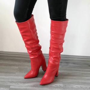 Botas beige negras Botas Slouchy Mujeres Chunky Heel Knee Boots High Mujeres Puntas puntiagudas Doblar botas Mujer Tacones de invierno 20123