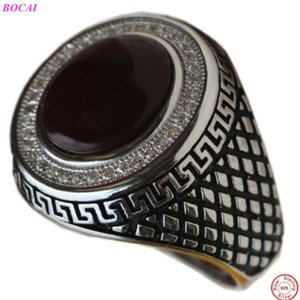 BOCAI S925 sterling silver male rings 2020 new fashion personality jewelry inlaid zircon black agate men's Thai silver ring