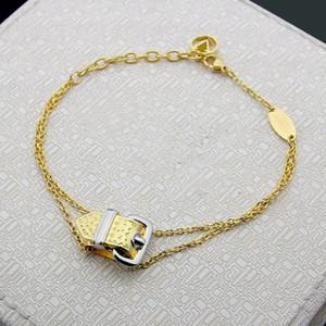 Europe America Style Lady Women Titanium Steel Engraved V Initials Belt Buckle Double Chain Bracelet