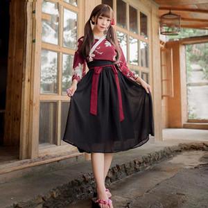 Women Chinese Style Folk Dance Party Costume Vintage Hanfu Japanese Haori Kawaii Girls Kimono Dress Yukata Retro Robes Skirts