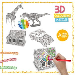 XMY Hot Drawing Montessori Toy DIY Sale Animal Dinosaur Airplane House Set Graffiti 3D Stereoscopic Drawing Children Puzzle Wqsch