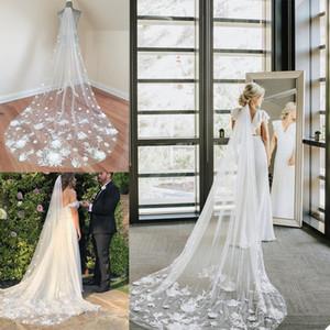 Luxurious Bridal Veils Lace Flowers Beads Wedding Veils Custom Made Bridal Tulle Veil Wedding Accessories 3m Popular Wedding Shawl