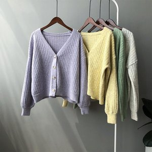 2020 Autumn Purple Knitted Cardigan New Korean Style Gentle Style Top Retro Sweater Sweater Cardigan Coat For Women