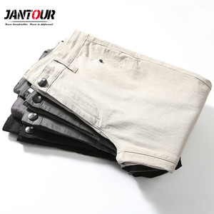 jantour 2020 New Casual Men Pants Cotton Slim Straight Trousers Fashion Business Design Solid Khaki Black Pants Men Plus Size 38 Y1114